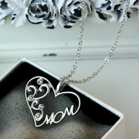 "Love ""Mom"" Crystal Pendant Necklace"