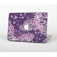 The Purple & White Butterfly Elegance Skin Set for the Apple MacBook Air 13""