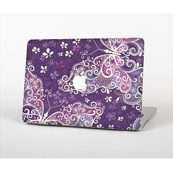 The Purple & White Butterfly Elegance Skin Set for the Apple MacBook Pro 13""