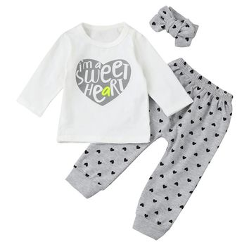 Cute Newborn Baby Girl Boy Clothes Letter Tops T-shirt Long Sleeve+Heart Pants Leggings Headband 3pcs Outfits Set