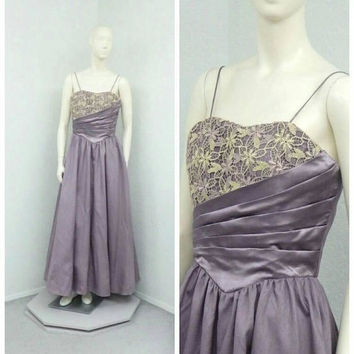 Vintage 80s NOS Purple Formal Dress, Evening Gown, Spaghetti Strap Prom Dress, Floor Length Dress, Crochet Lace Dress, Full Skirt Dress