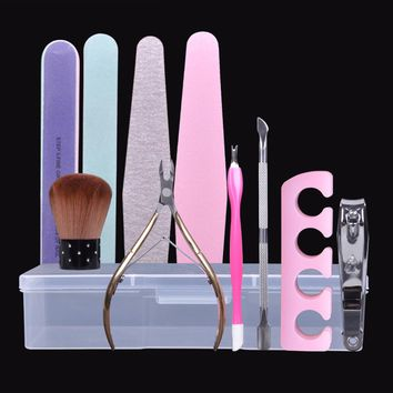 Biutee Nail Art Tool Empty Storage Box Plastic with Tweezers Clippers Pens Cuticle Pusher Polishing buffer files Strip Container