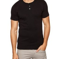 French Connection Men's Basic Short Sleeve Henley Shirt, Black, Small