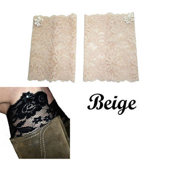 Beige Floral Scalloped Stretch Lace Satin Rhinestone Peek a Boo Boot Cuffs Lacey Boot Cuffs Boot Toppers