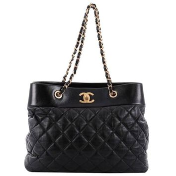 Chanel Soft Elegance Tote Quilted Distressed Calfskin Large