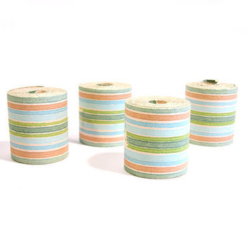 Vintage Striped Wallpaper Border, Coral, Turquoise, Blue and Green