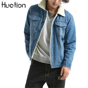 Huation Jacket Jeans Men 2017 Winter Thicken Warm Lamb Wool Fleece Lining Denim Jacket Men Coats Hip Hop Jaqueta Masculino Coat