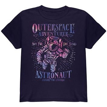 Outer Space Adventurer Astronaut Aim For The Stars Youth T Shirt