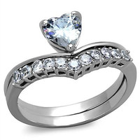 Loved - Heart CZ Stainless Steel Promise Ring