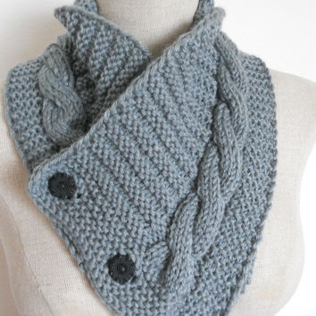 SALE ENDS OCT 1st!!!  Knit Cowl in medium grey, neckwarmer, scarf with buttons. Women Accessory Winter Fashion