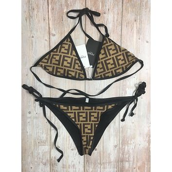 Black FENDI One Piece Swimsuits Swimwear Bikini Set FED20