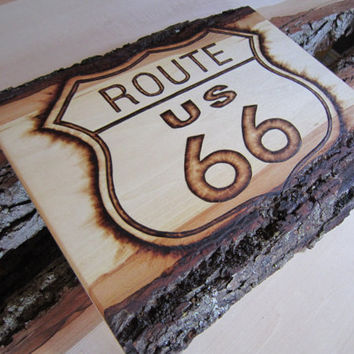 Route 66 sign - classic road sign artwork - rustic road trip  - Automotive Americana- Cars