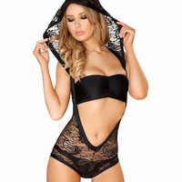 Tricot Lace Hooded Romper