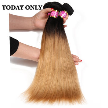 Today Only Blonde Ombre Brazilian Straight Human Hair Weave Bundles Non-remy Hair Extensions 1b 27 Two Tone Human Hair Bundles