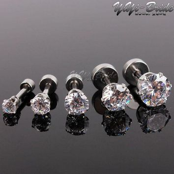 DCCKFV3 5pcs 3-7mm Zircon Ear Piercing Unique Design Silver Stainless Steel Fake Piercing Tunnels Stud Body Piercing Jewelry Women