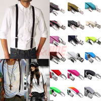 Unisex Mens Womens Skinny Thin Slim Suspenders Adjustable Clip-on Fashion Braces