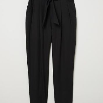 Lyocell Paper-bag Pants - Black - Ladies | H&M US