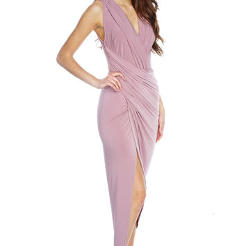 Elaina Wrap Dress - Mauve