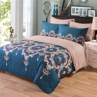 Bohemian Silk Bed Duvet Cover Set Luxury European Comforter Bedding Sets Floral Pattern Reversible Bedding Set King Size