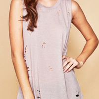 DISTRESSED RELAXED FIT TANK