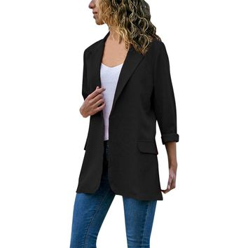 Trendy FeiTong Jacket Women Autumn Fashion Long Sleeve Cardigans Solid Color Coat Open Front Jackets Womens Windbreaker Jacket AT_94_13