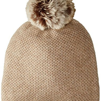 Sofia Cashmere Women's Honeycomb Textured Hat with Faux Fur Pom, Heather Taupe, One Size