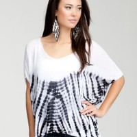 BB V-neck Drape Tie Dye Sweater Sweater Tops And Other Black/white-p/s