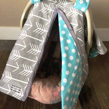 Car Seat Canopy Grey And Aqua Arrow