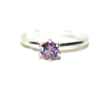 Alexandrite Ring, Color Change Stone, Solitaire, Simple Ring