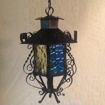 Vintage Small Wrought Iron Hanging Swag Light 6 Colored Glass Panels Gothic