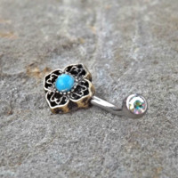 Tribal Turquoise Bronze Belly Button Navel Ring Body Jewelry Fits in Navel 14ga Cute Belly Ring
