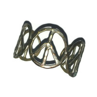 70s PEACE OUT BRACELET Cuff Chunky Hammered Silver Peace Symbol Vintage Jewelry 1970s Hippie Boho Reefer Hippy Fashion Hipster Unisex Gift