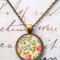 Shabby Chic Necklace, Floral, Vintage, Cottage Chic, Pendant, Steampunk, Boho T791