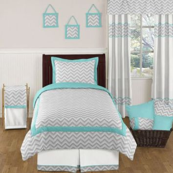 Sweet Jojo Designs Zig Zag Standard Pillow Sham in Turquoise/Grey
