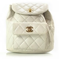 CHANEL Lambskin Quilted Backpack White