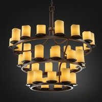 Justice Design Group CNDL-8713-14-AMB-DB CandleAria Dakota Thirty-Six-Light Three-Tier Ring Chandelier
