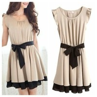 Romantic bowknot detail butterfly sleeve dress