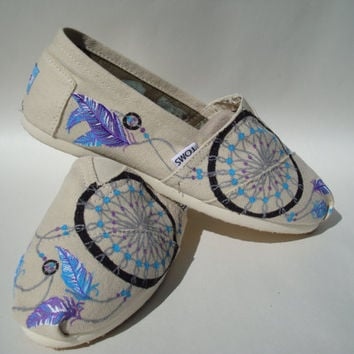 Dream catchers-blue and purple- hand painted on TOMS shoes-made to order
