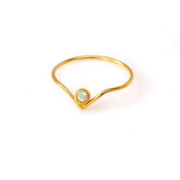 Opal Mini Arc Ring