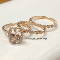 Oval Morganite Engagement Ring Trio Sets Diamond Wedding Bands 14K Rose Gold 6x8mm Art Deco Vintage Style