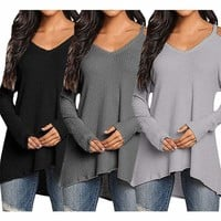 New Womens Open Cold Shoulder V-Neck Long Sleeve Tunic Top Blouse Shirt Black
