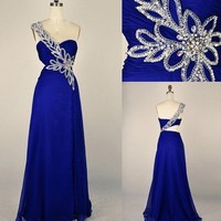 Stunning One Shoulder Blue Prom Dress/Evening Dress from Cute Girl