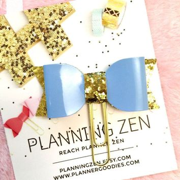 Shiny Blue Faux Patent Leather Planner Clip