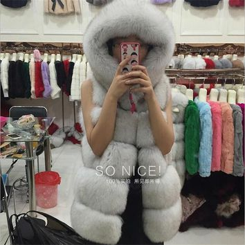 BINYUXD Hot sale 2016 winter coat Faux silver fox fur coat hooded vest stripe medium-long vest large size women