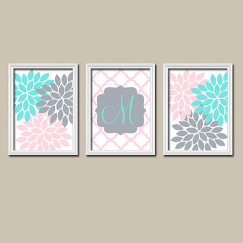 Wall Art Girl Child Canvas Artwork Aqua Turquoise Pink Gray Monogram Flower Letter Initial Set of 3 Prints Quatrefoil Bedroom Nursery Three
