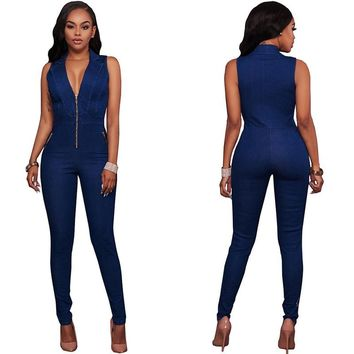 Fashion Women new sexy denim jumpsuit europe and the united states jumpsuits rompers summer sexy long jumpsuit two piece bodys