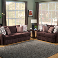 A.M.B. Furniture & Design :: Living room furniture :: Sofas and Sets :: Sofa Sets :: 2 pc Dawson Eggplant fabric upholstered sofa and love seat set with square low set back arms and piping trim accents