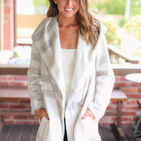 Stellar Statement Trench Coat -Cream and Grey