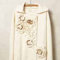 NWT ANTHROPOLOGIE by MOTH GARDEN PARTY BOILED WOOD IVORY JACKET SWEATERCOAT M