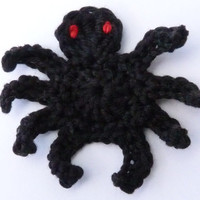 Crochet applique,3 small crochet spiders , cards, scrapbooks, appliques and embellishments